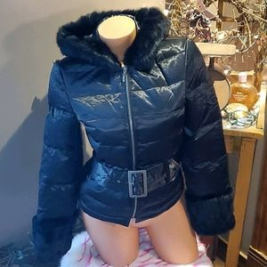 Bebe shiny puffer rabbit fur belted coat S EUC